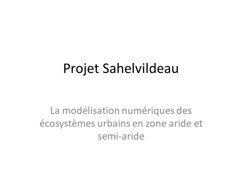 Projet Sahelvildeau La modélisation numériques des écosystèmes urbains en zone aride et semi-aride
