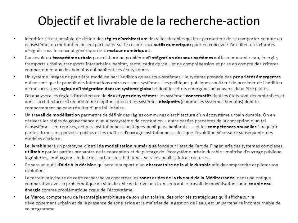 Objectif et livrable de la recherche-action Identifier sil est possible de définir des règles darchitecture des villes durables qui leur permettent de