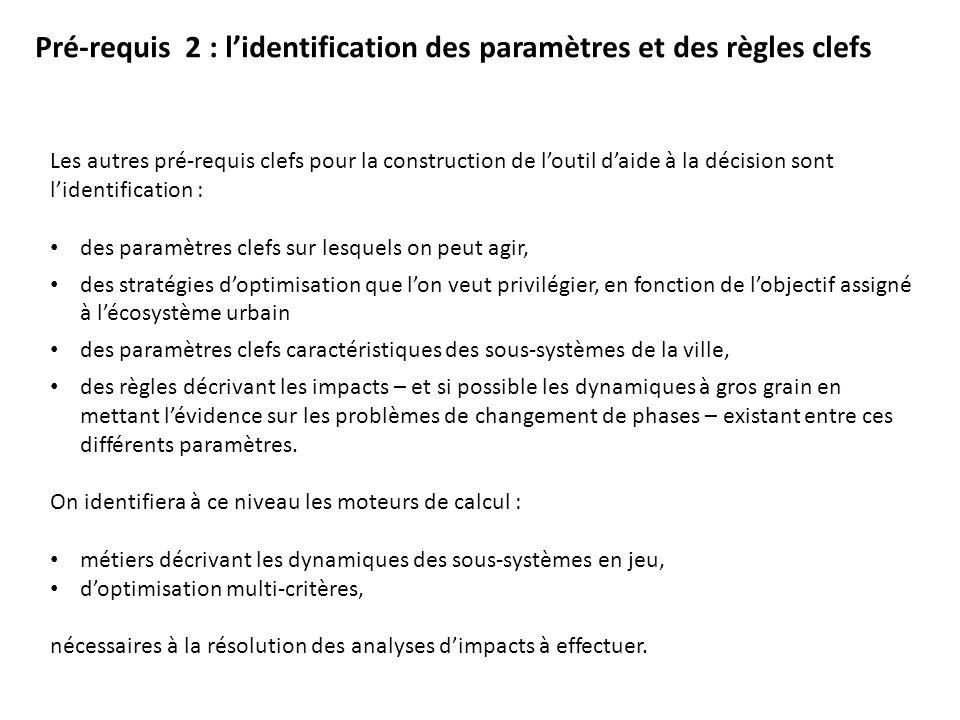 Pré-requis 2 : lidentification des paramètres et des règles clefs Les autres pré-requis clefs pour la construction de loutil daide à la décision sont