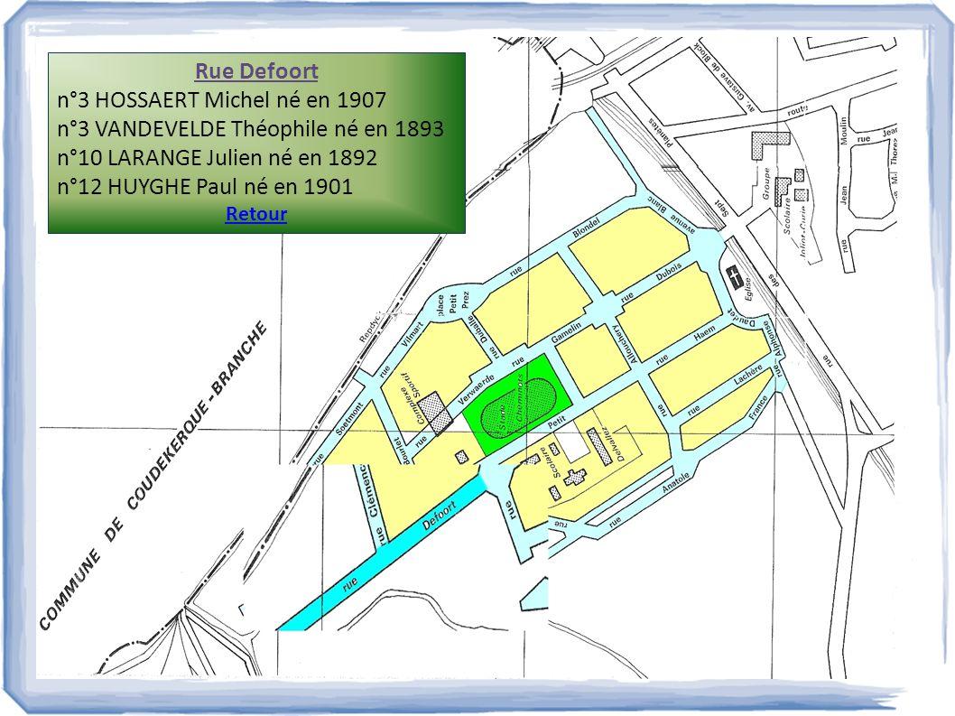 Rue Defoort n°3 HOSSAERT Michel né en 1907 n°3 VANDEVELDE Théophile né en 1893 n°10 LARANGE Julien né en 1892 n°12 HUYGHE Paul né en 1901 Retour