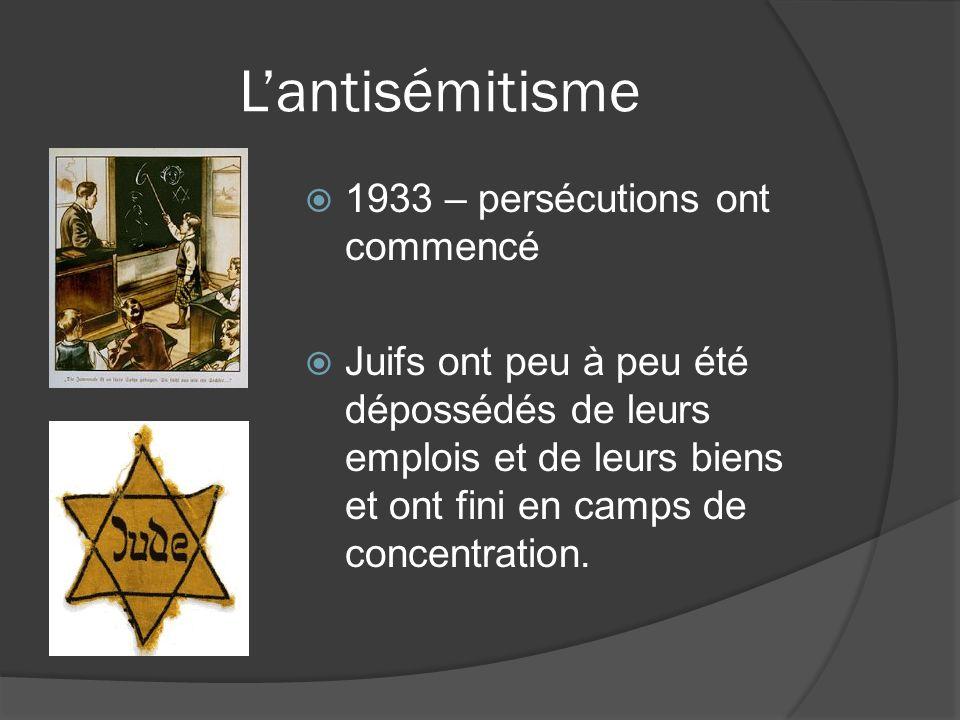 Lantisémitisme 1933 – persécutions ont commencé Juifs ont peu à peu été dépossédés de leurs emplois et de leurs biens et ont fini en camps de concentr