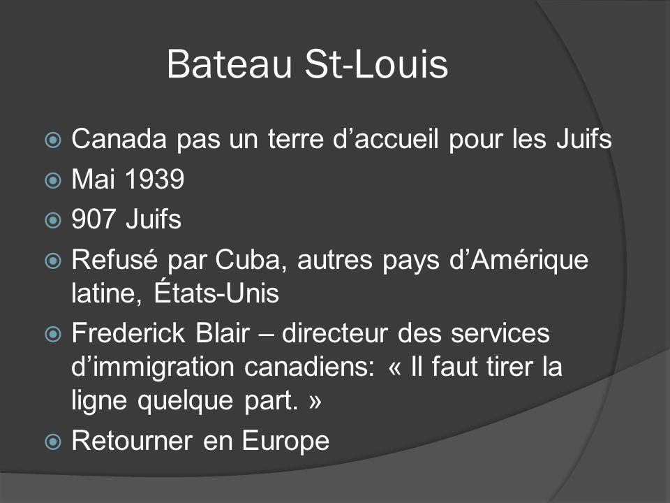 Bateau St-Louis Canada pas un terre daccueil pour les Juifs Mai 1939 907 Juifs Refusé par Cuba, autres pays dAmérique latine, États-Unis Frederick Bla
