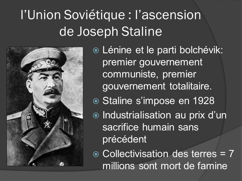 Staline et communisme Gouverné 1924-1953 Extermination des opposants politiques = environ 3 millions de victimes Communisme LÉtat omnipotent et omniprésent Tout le monde est égal, sans classes, ressources partagées également LÉtat assumait tout le contrôle sur la vie civile et économique.