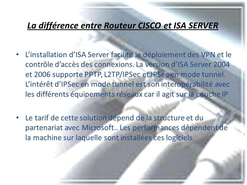 La différence entre Routeur CISCO et ISA SERVER Linstallation dISA Server facilite le déploiement des VPN et le contrôle daccès des connexions. La ver
