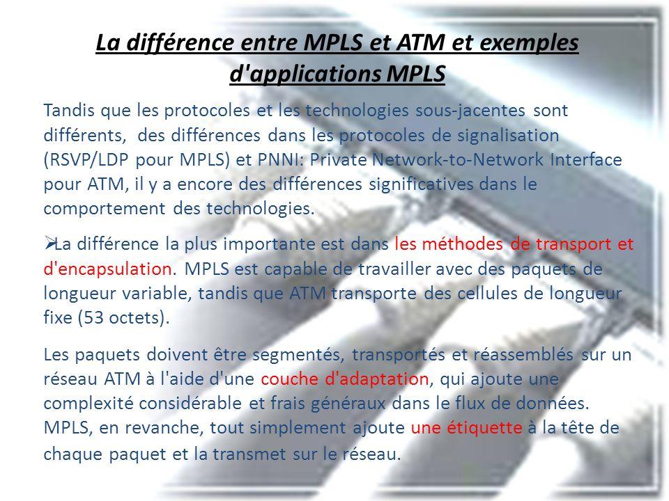 La différence entre MPLS et ATM et exemples d'applications MPLS Tandis que les protocoles et les technologies sous-jacentes sont différents, des diffé