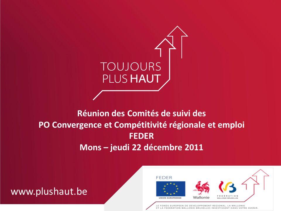 www.plushaut.be Réunion des Comités de suivi des PO Convergence et Compétitivité régionale et emploi FEDER Mons – jeudi 22 décembre 2011