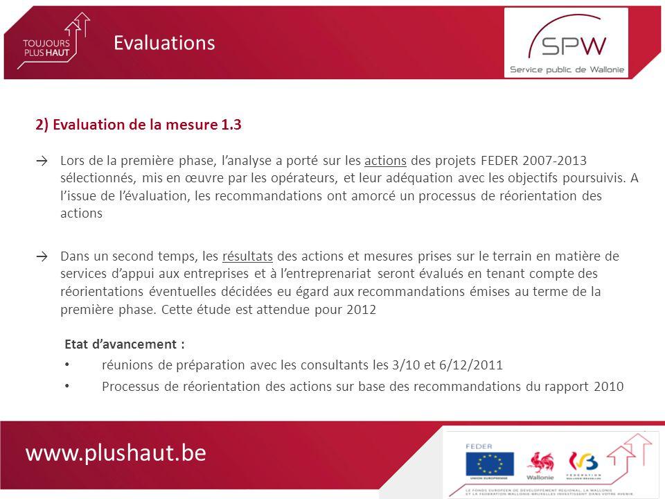 www.plushaut.be 2) Evaluation de la mesure 1.3 Lors de la première phase, lanalyse a porté sur les actions des projets FEDER 2007-2013 sélectionnés, m