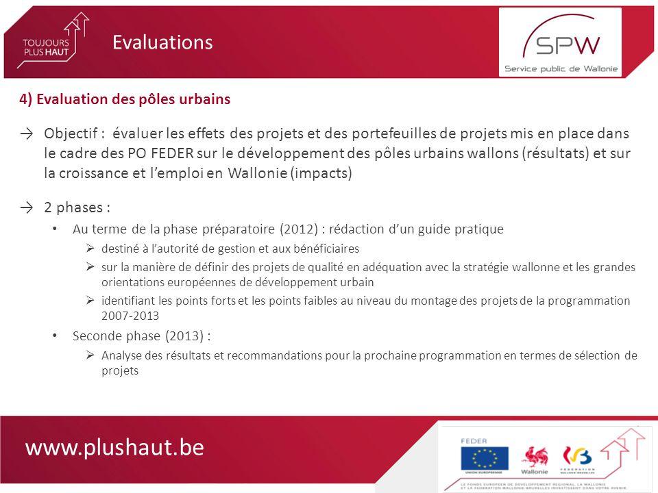 www.plushaut.be 4) Evaluation des pôles urbains Objectif : évaluer les effets des projets et des portefeuilles de projets mis en place dans le cadre d
