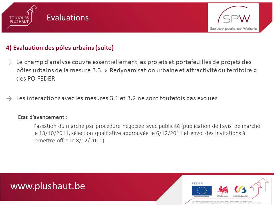 www.plushaut.be 4) Evaluation des pôles urbains (suite) Le champ danalyse couvre essentiellement les projets et portefeuilles de projets des pôles urbains de la mesure 3.3.
