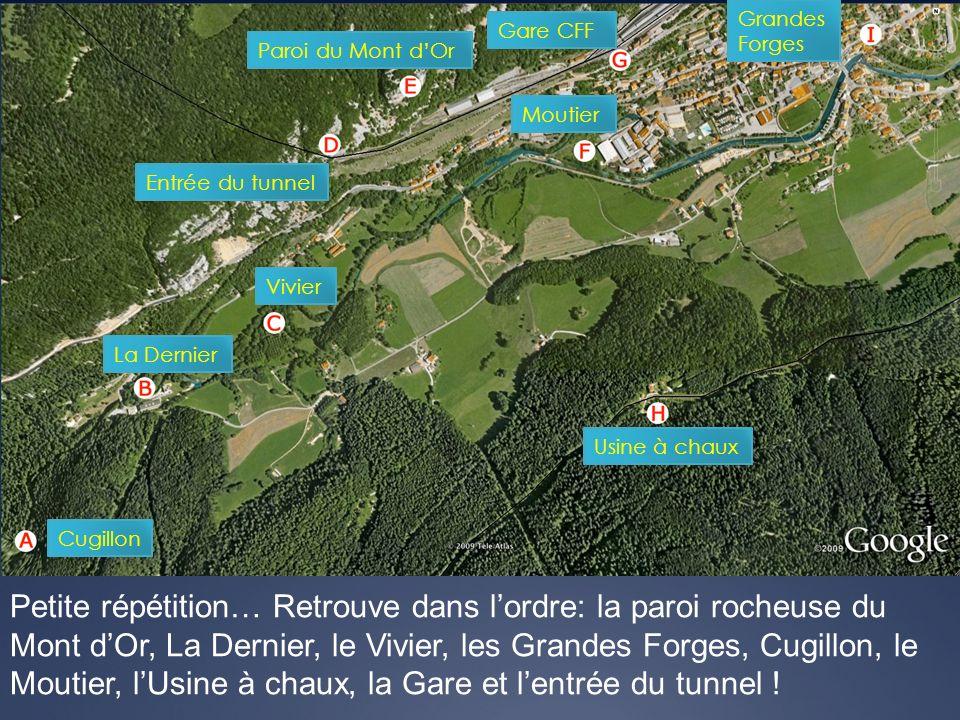 Petite répétition… Retrouve dans lordre: la paroi rocheuse du Mont dOr, La Dernier, le Vivier, les Grandes Forges, Cugillon, le Moutier, lUsine à chau