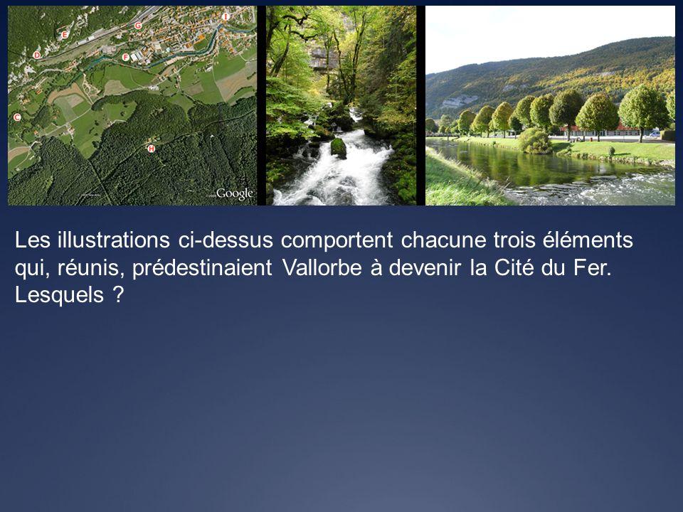 Les illustrations ci-dessus comportent chacune trois éléments qui, réunis, prédestinaient Vallorbe à devenir la Cité du Fer. Lesquels ?