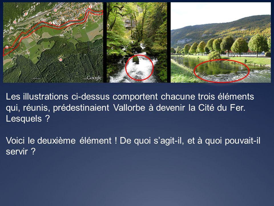 Les illustrations ci-dessus comportent chacune trois éléments qui, réunis, prédestinaient Vallorbe à devenir la Cité du Fer. Lesquels ? Voici le deuxi