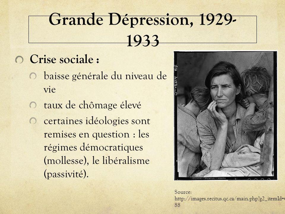 Grande Dépression, 1929- 1933 Crise sociale : baisse générale du niveau de vie taux de chômage élevé certaines idéologies sont remises en question : l