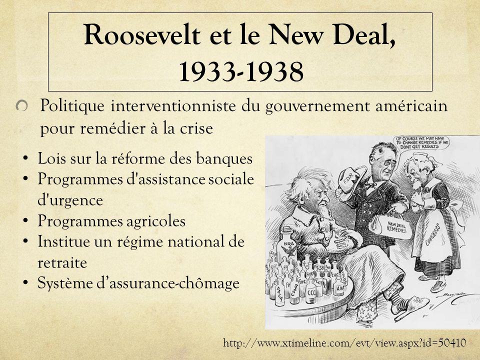 Roosevelt et le New Deal, 1933-1938 Politique interventionniste du gouvernement américain pour remédier à la crise http://www.xtimeline.com/evt/view.a