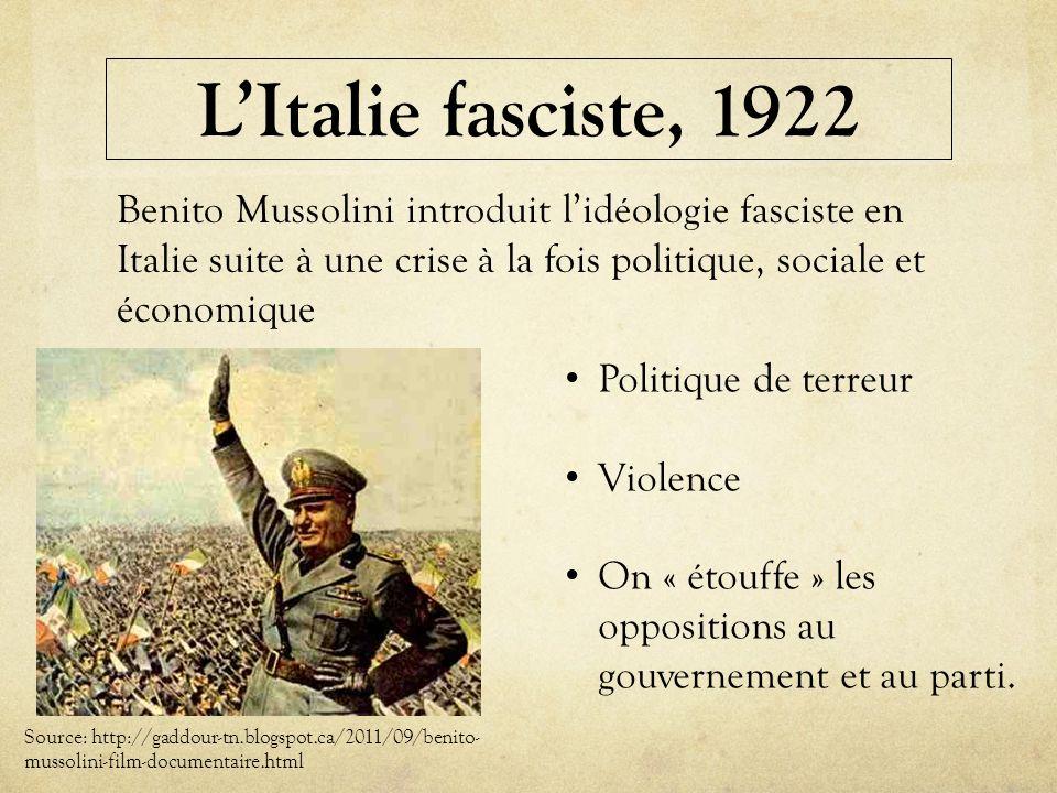 LItalie fasciste, 1922 Source: http://gaddour-tn.blogspot.ca/2011/09/benito- mussolini-film-documentaire.html Benito Mussolini introduit lidéologie fa