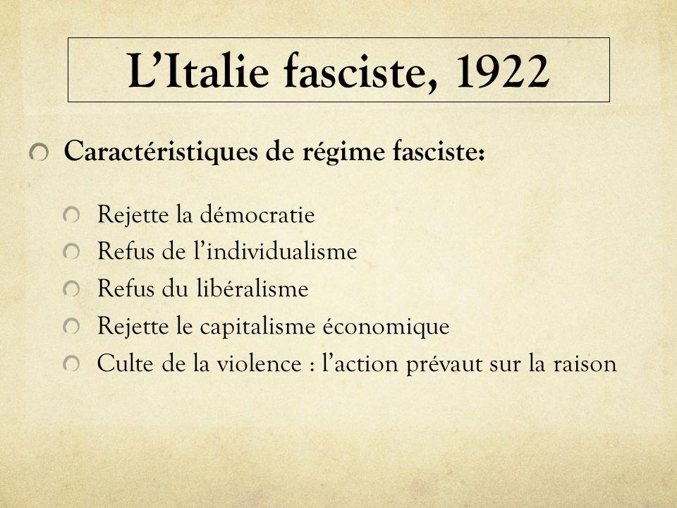 LItalie fasciste, 1922 Caractéristiques de régime fasciste: Rejette la démocratie Refus de lindividualisme Refus du libéralisme Rejette le capitalisme
