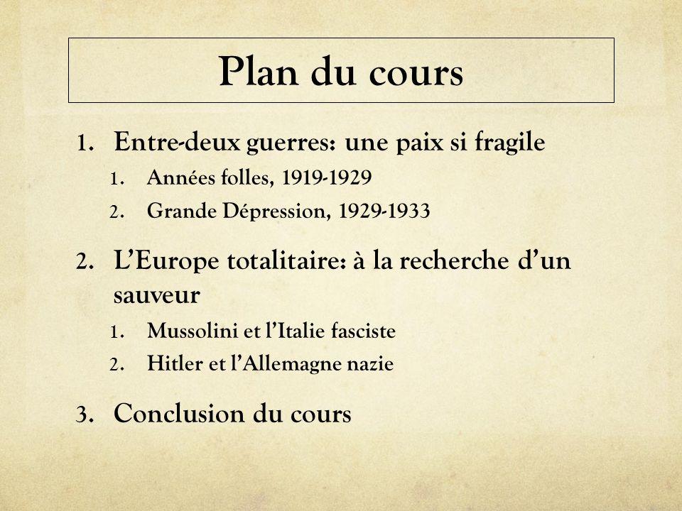 Plan du cours 1. Entre-deux guerres: une paix si fragile 1. Années folles, 1919-1929 2. Grande Dépression, 1929-1933 2. LEurope totalitaire: à la rech
