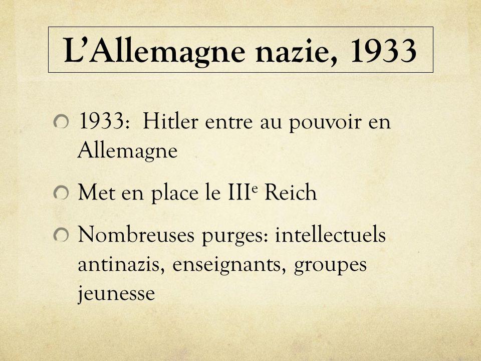 LAllemagne nazie, 1933 1933: Hitler entre au pouvoir en Allemagne Met en place le III e Reich Nombreuses purges: intellectuels antinazis, enseignants,