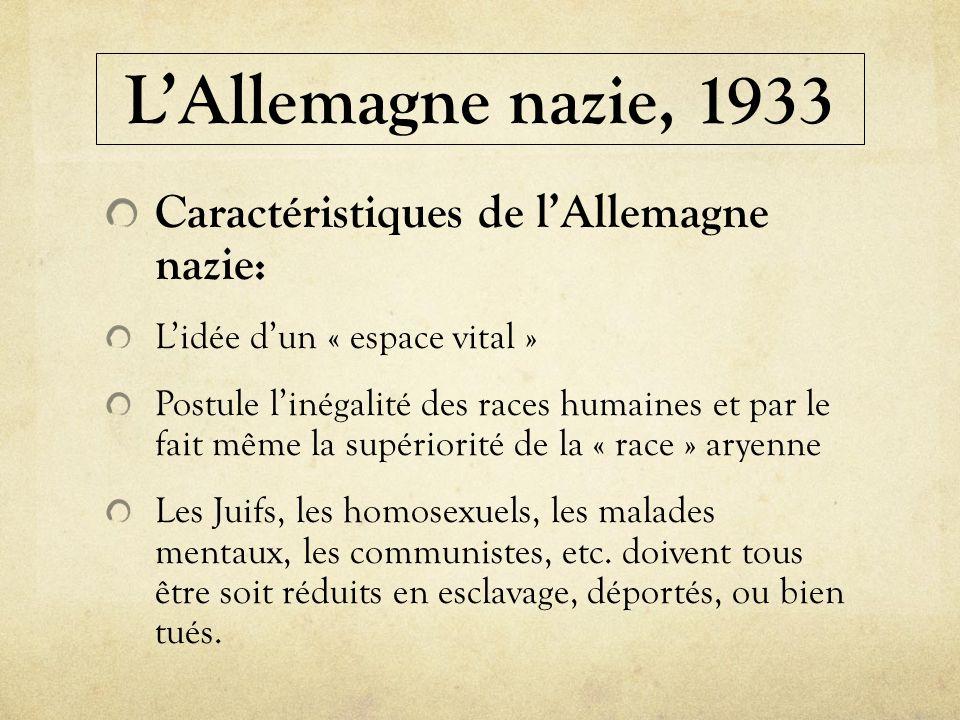 LAllemagne nazie, 1933 Caractéristiques de lAllemagne nazie: Lidée dun « espace vital » Postule linégalité des races humaines et par le fait même la s