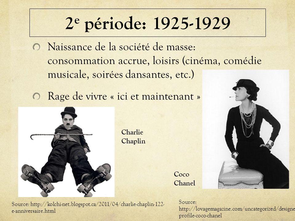 2 e période: 1925-1929 Naissance de la société de masse: consommation accrue, loisirs (cinéma, comédie musicale, soirées dansantes, etc.) Rage de vivr