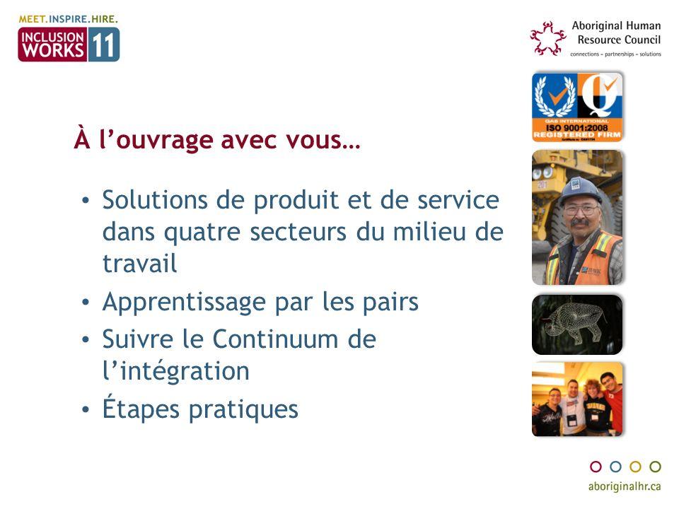 À louvrage avec vous… Solutions de produit et de service dans quatre secteurs du milieu de travail Apprentissage par les pairs Suivre le Continuum de lintégration Étapes pratiques