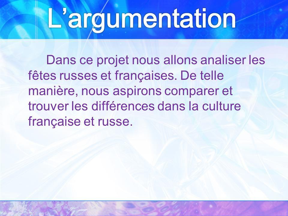 Dans ce projet nous allons analiser les fêtes russes et françaises.