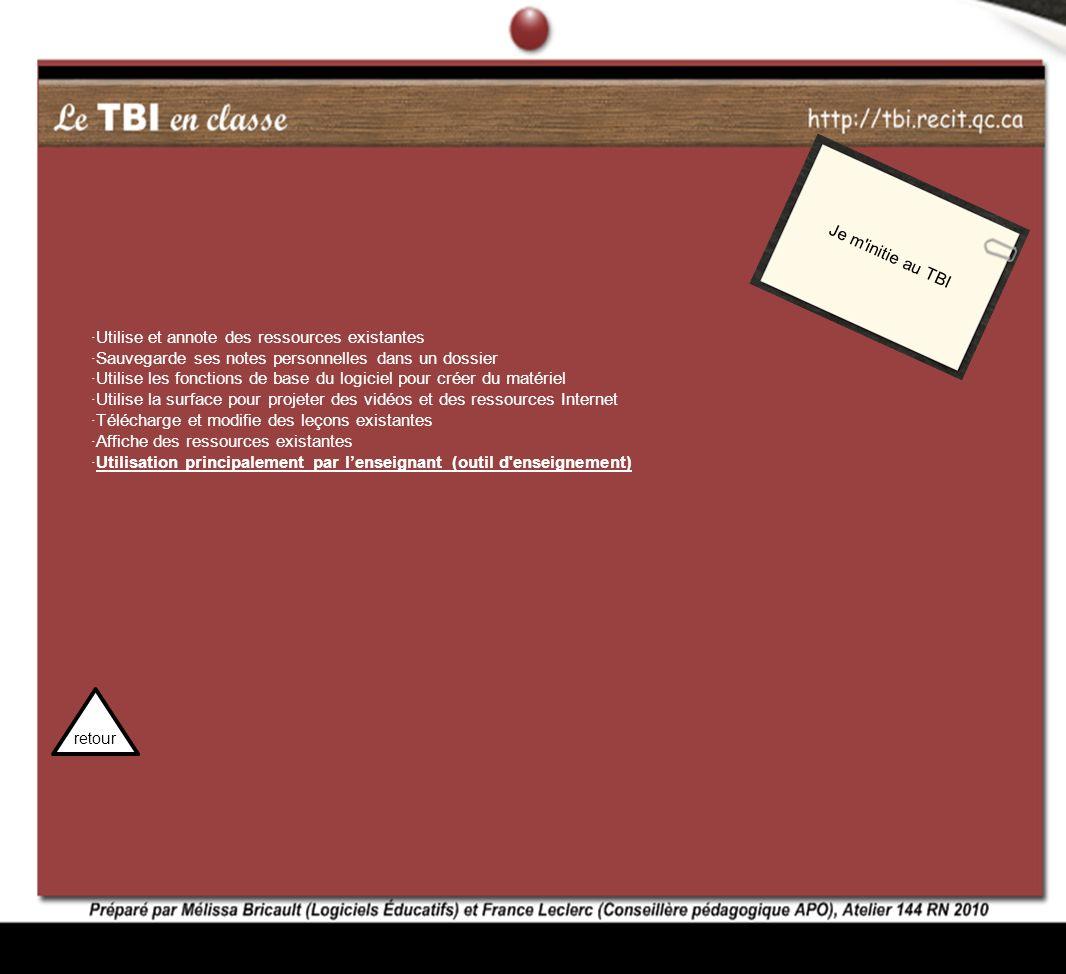 Je m'initie au TBI ·Utilise et annote des ressources existantes ·Sauvegarde ses notes personnelles dans un dossier ·Utilise les fonctions de base du l