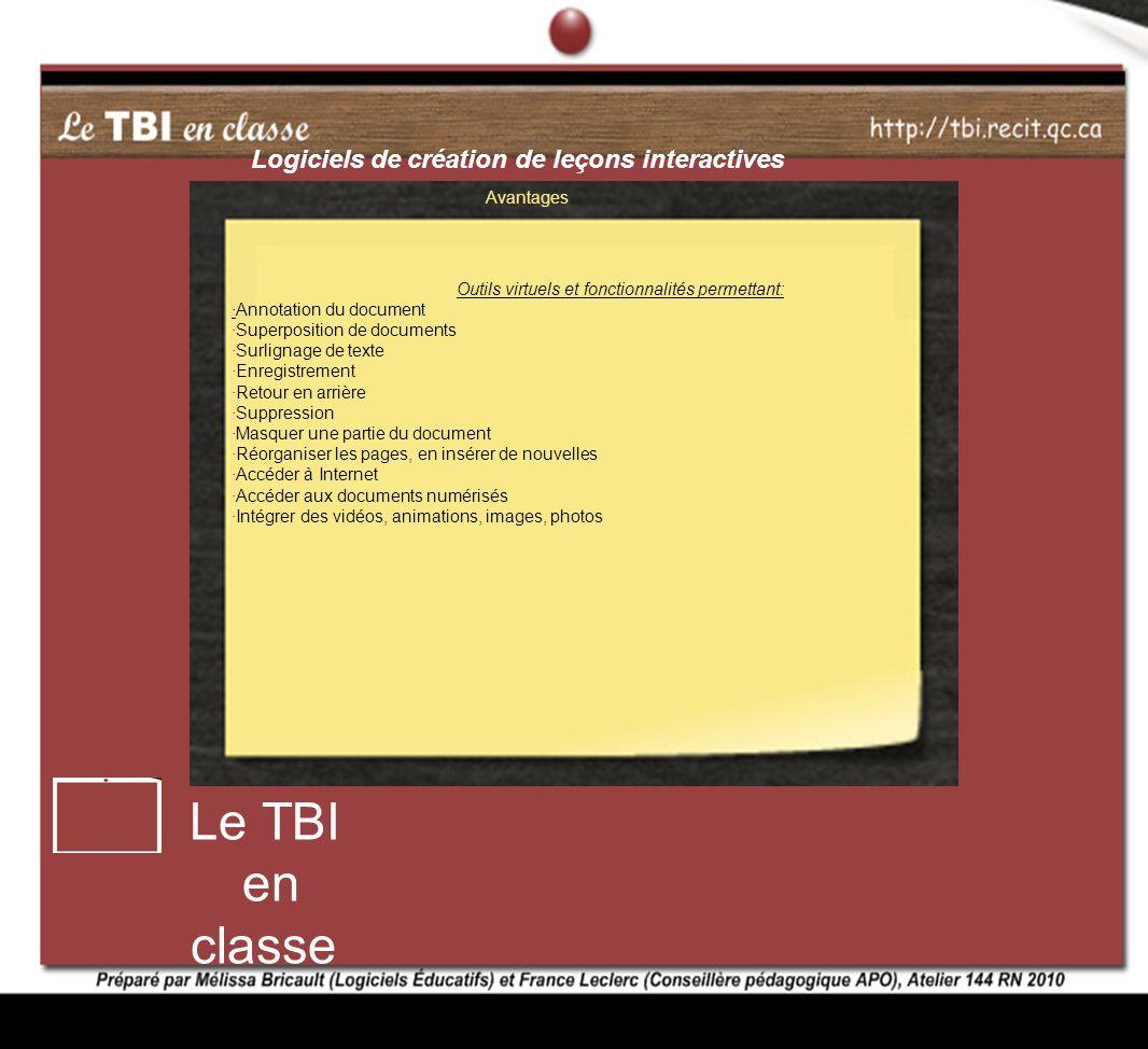 Avantages Outils virtuels et fonctionnalités permettant: ·Annotation du document ·Superposition de documents ·Surlignage de texte ·Enregistrement ·Ret