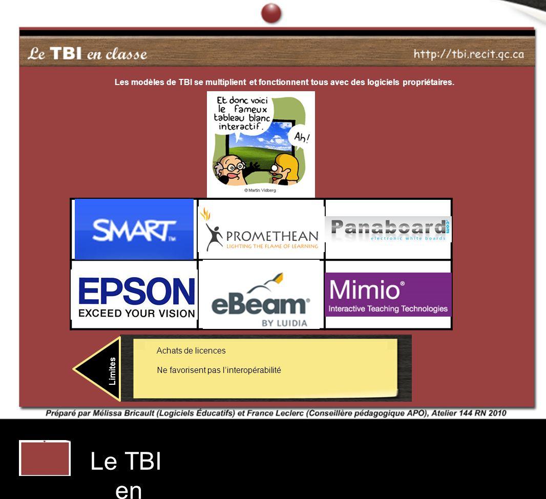Les modèles de TBI se multiplient et fonctionnent tous avec des logiciels propriétaires. Le TBI en classe Achats de licences Ne favorisent pas lintero
