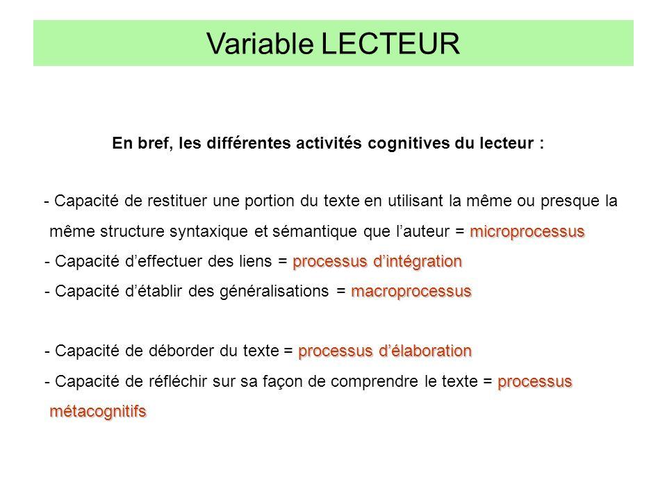Variable LECTEUR - Capacité de restituer une portion du texte en utilisant la même ou presque la microprocessus même structure syntaxique et sémantiqu