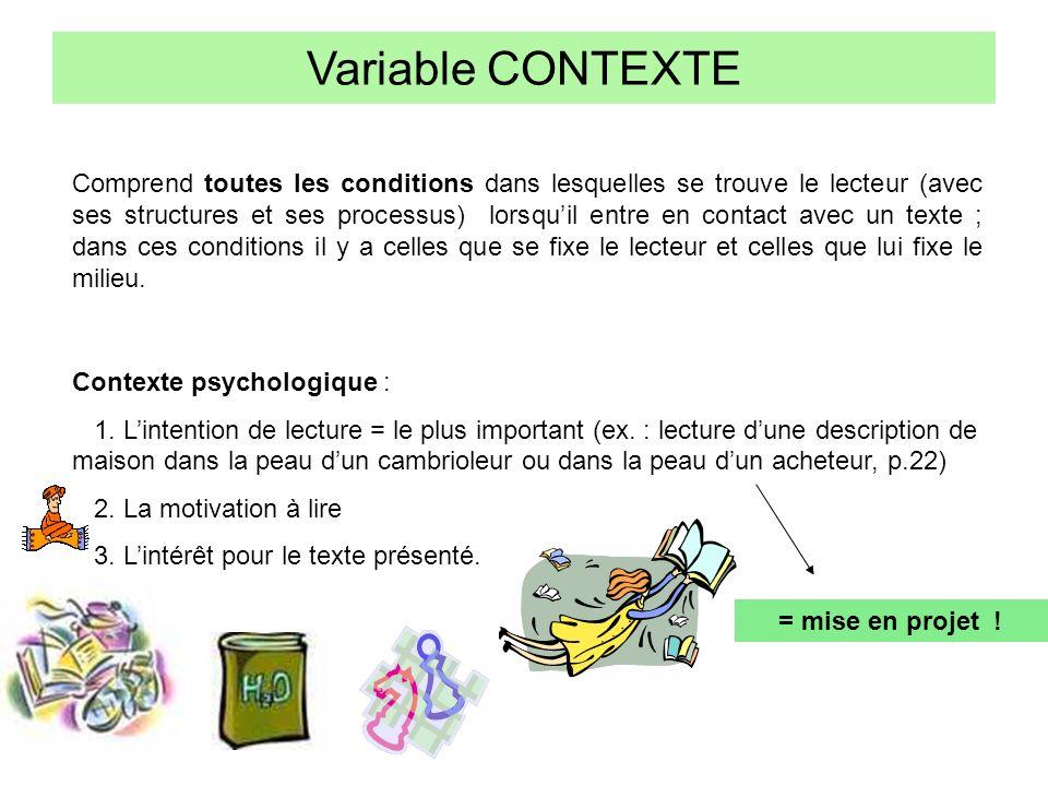 Variable CONTEXTE Comprend toutes les conditions dans lesquelles se trouve le lecteur (avec ses structures et ses processus) lorsquil entre en contact