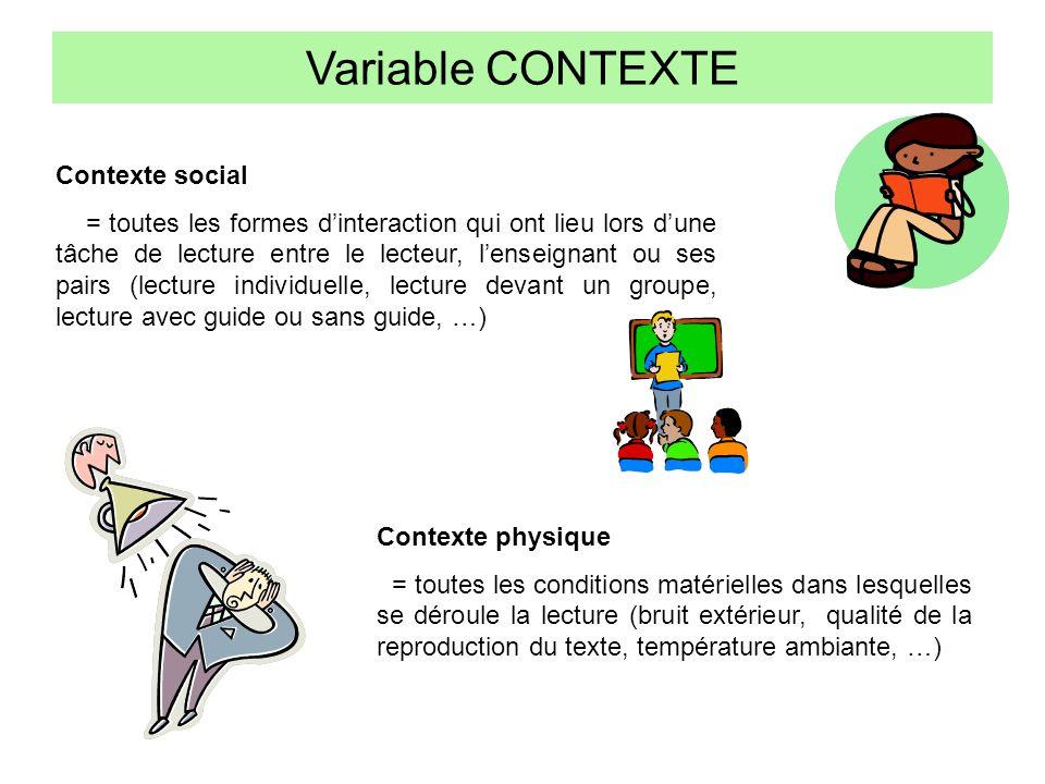 Variable CONTEXTE Contexte social = toutes les formes dinteraction qui ont lieu lors dune tâche de lecture entre le lecteur, lenseignant ou ses pairs