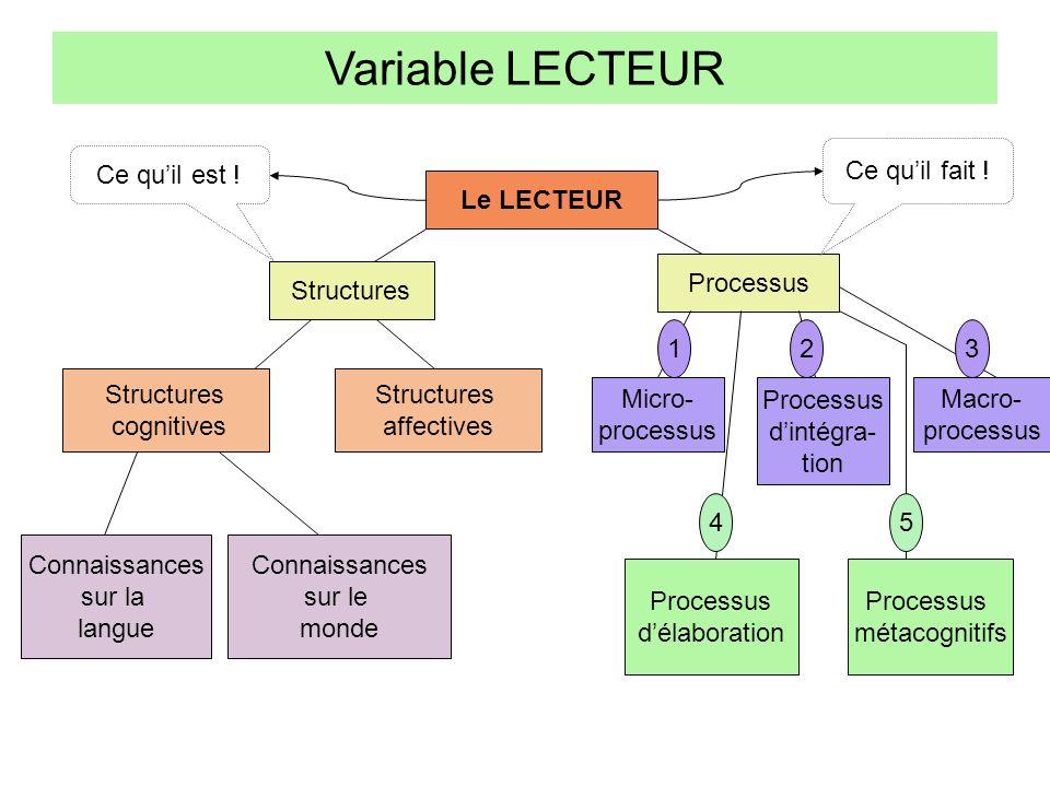 Variable LECTEUR Le LECTEUR Structures Processus Structures cognitives Structures affectives Connaissances sur la langue Connaissances sur le monde Mi
