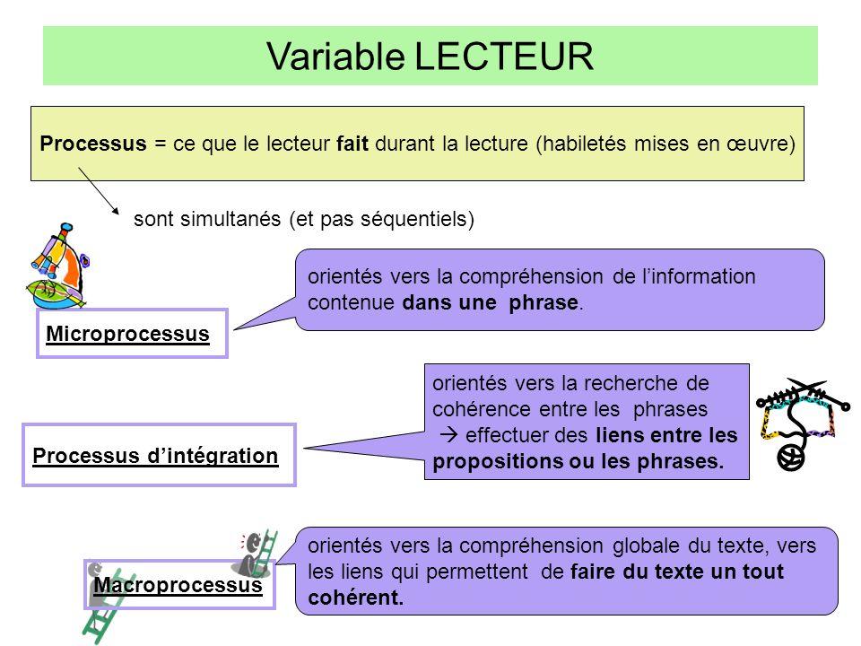 Variable LECTEUR permettent de faire des hypothèses, dintégrer le texte à des connaissances antérieures permettent de dépasser le texte (daller au- delà de celui-ci) et deffectuer des inférences non prévues par lauteur.