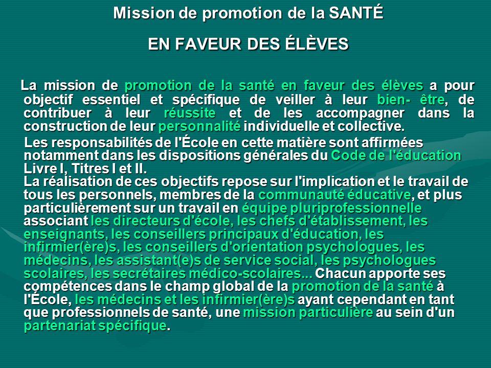 Mission de promotion de la SANTÉ EN FAVEUR DES ÉLÈVES La mission de promotion de la santé en faveur des élèves a pour objectif essentiel et spécifique