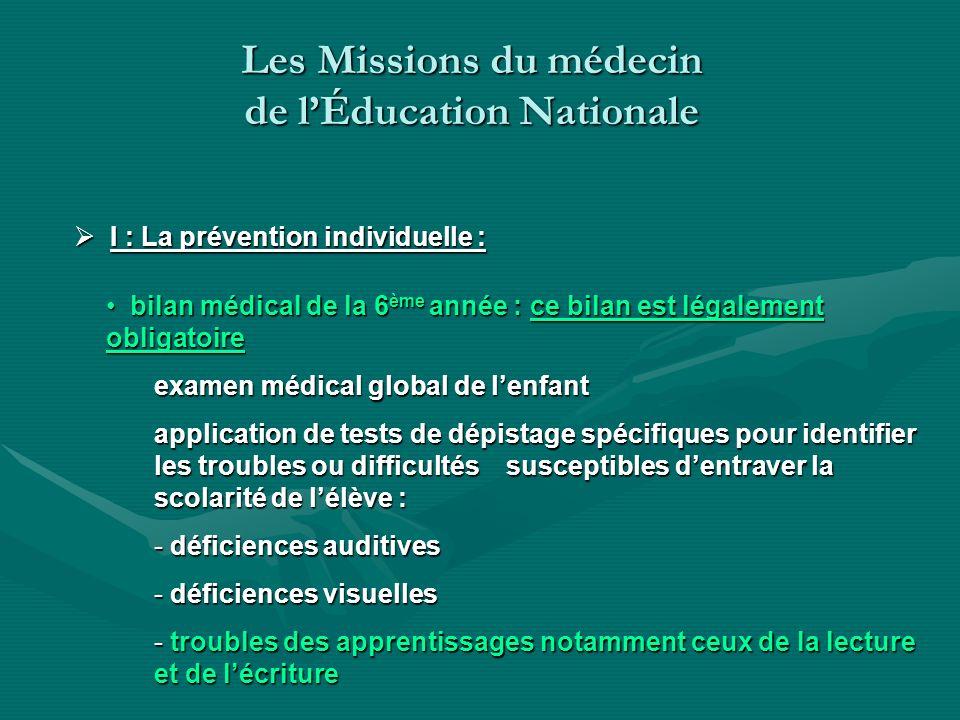 Les Missions du médecin de lÉducation Nationale I : La prévention individuelle : I : La prévention individuelle : bilan médical de la 6 ème année : ce