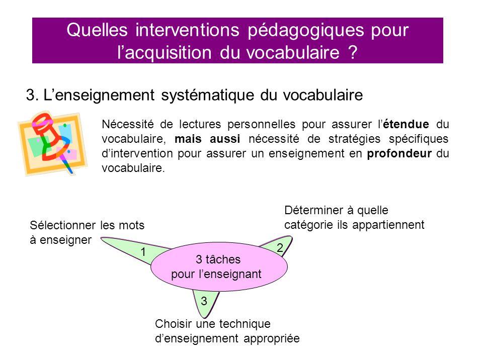 Quelles interventions pédagogiques pour lacquisition du vocabulaire ? 3. Lenseignement systématique du vocabulaire 3 tâches pour lenseignant Sélection