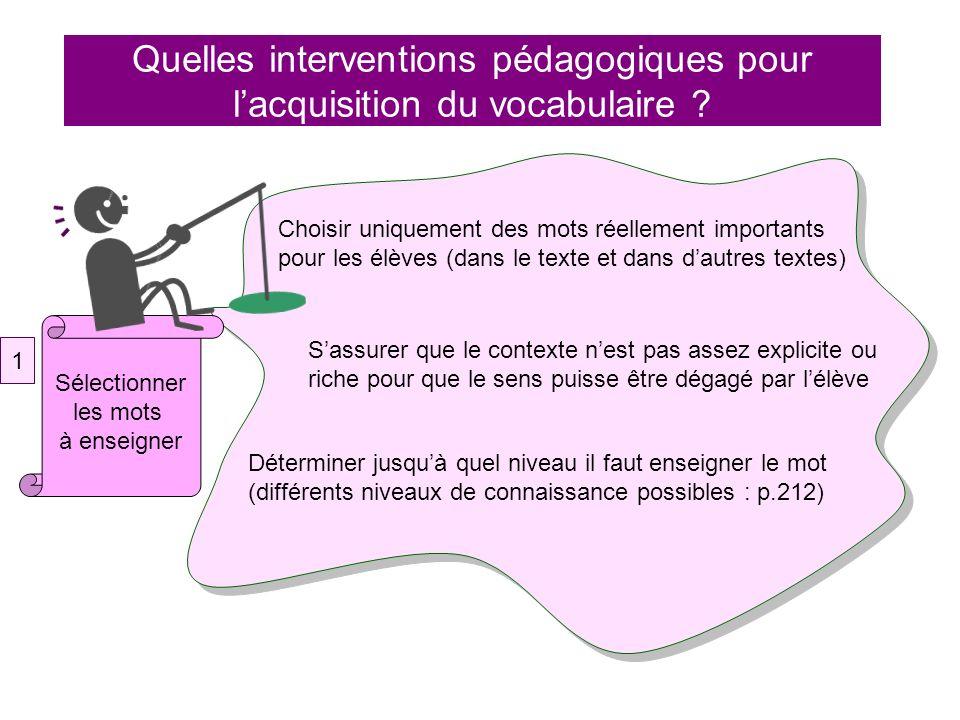 Quelles interventions pédagogiques pour lacquisition du vocabulaire ? Choisir uniquement des mots réellement importants pour les élèves (dans le texte