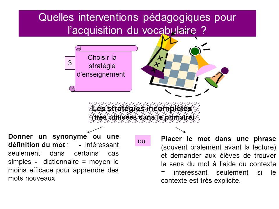 Quelles interventions pédagogiques pour lacquisition du vocabulaire ? Choisir la stratégie denseignement 3 Les stratégies incomplètes (très utilisées