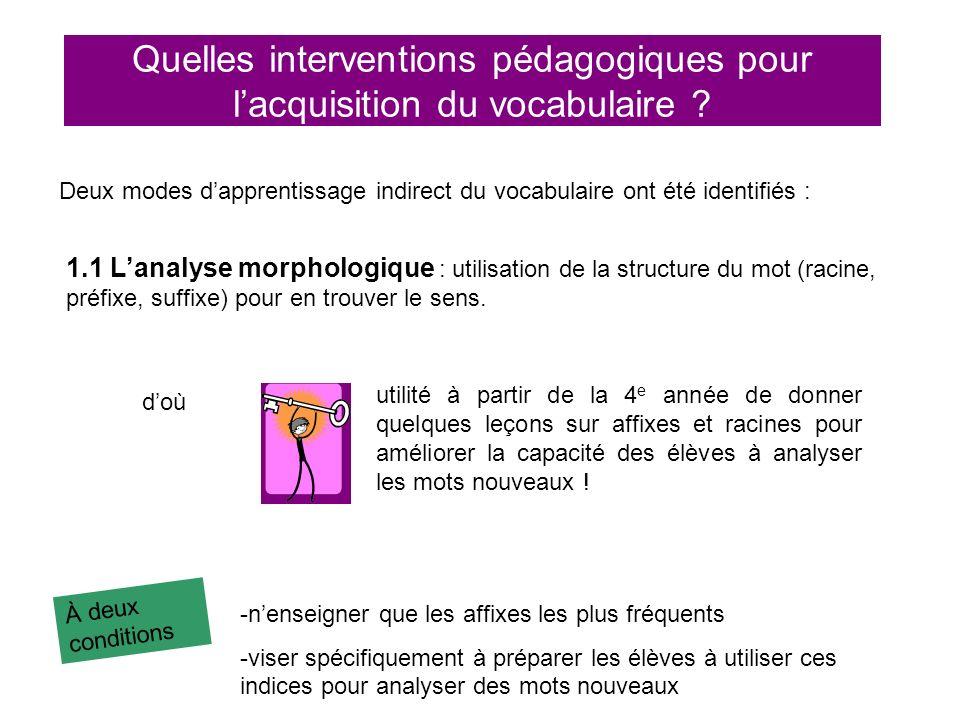 Quelles interventions pédagogiques pour lacquisition du vocabulaire ? Deux modes dapprentissage indirect du vocabulaire ont été identifiés : 1.1 Lanal