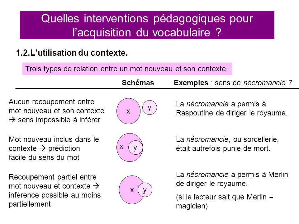 Quelles interventions pédagogiques pour lacquisition du vocabulaire ? 1.2.Lutilisation du contexte. Trois types de relation entre un mot nouveau et so