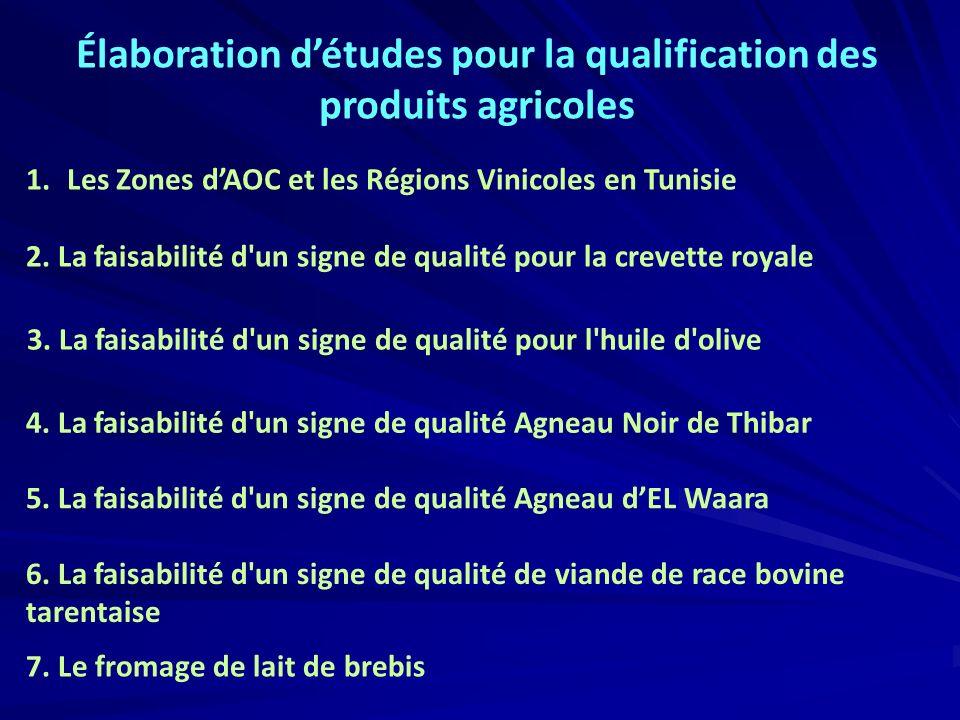 1. Les Zones dAOC et les Régions Vinicoles en Tunisie 3. La faisabilité d'un signe de qualité pour l'huile d'olive Élaboration détudes pour la qualifi