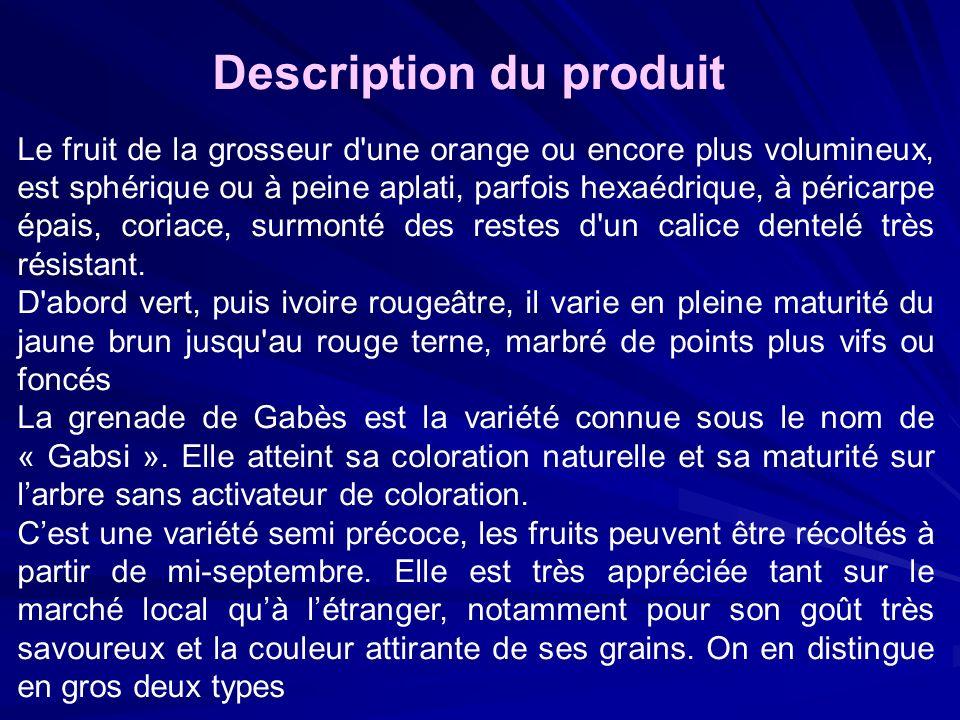 Description du produit Le fruit de la grosseur d'une orange ou encore plus volumineux, est sphérique ou à peine aplati, parfois hexaédrique, à péricar