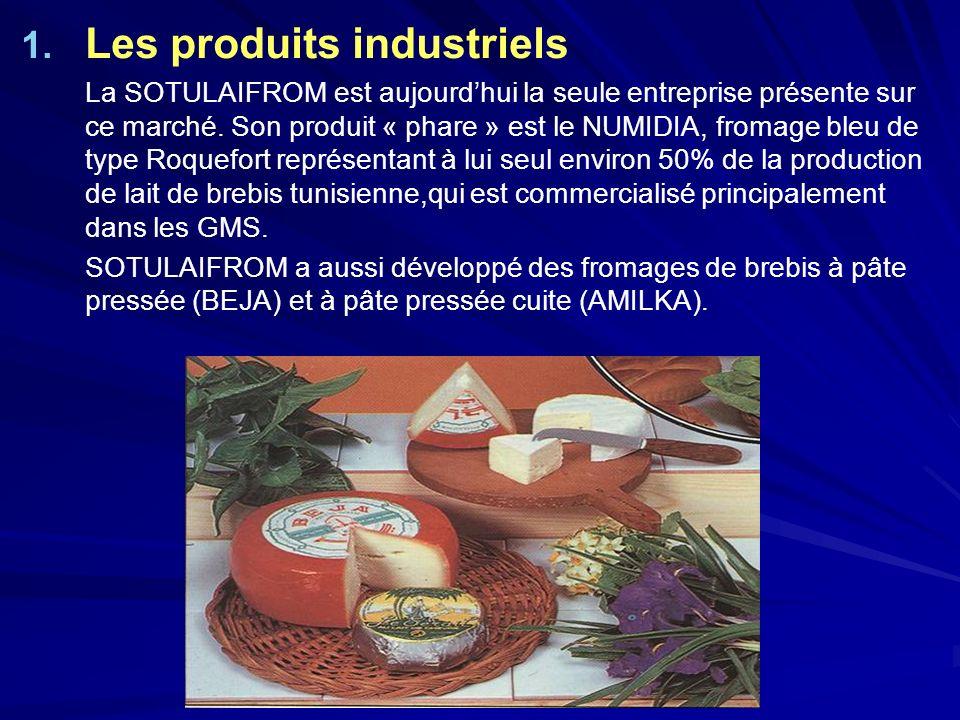 1. 1. Les produits industriels La SOTULAIFROM est aujourdhui la seule entreprise présente sur ce marché. Son produit « phare » est le NUMIDIA, fromage