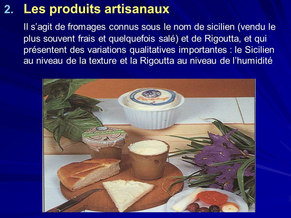 2. 2. Les produits artisanaux Il sagit de fromages connus sous le nom de sicilien (vendu le plus souvent frais et quelquefois salé) et de Rigoutta, et