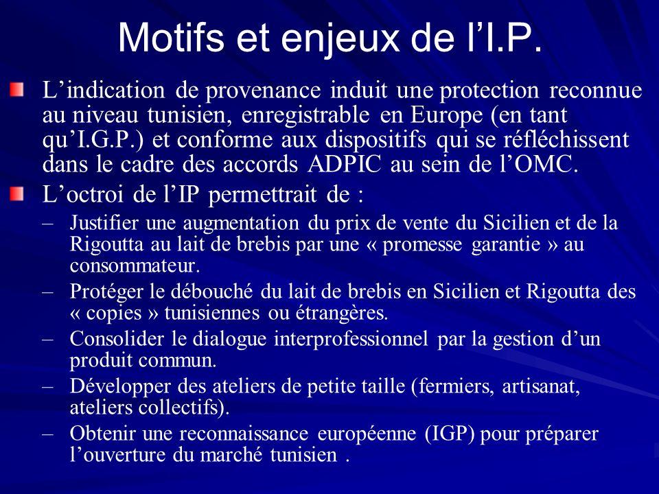 Motifs et enjeux de lI.P. Lindication de provenance induit une protection reconnue au niveau tunisien, enregistrable en Europe (en tant quI.G.P.) et c
