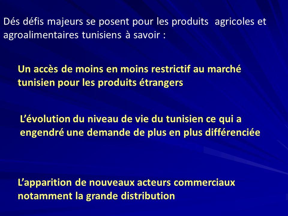 Lapparition de nouveaux acteurs commerciaux notamment la grande distribution Un accès de moins en moins restrictif au marché tunisien pour les produit