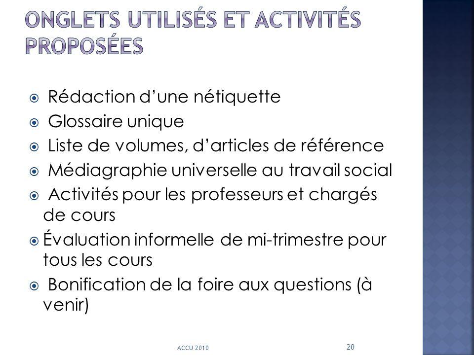 Rédaction dune nétiquette Glossaire unique Liste de volumes, darticles de référence Médiagraphie universelle au travail social Activités pour les prof