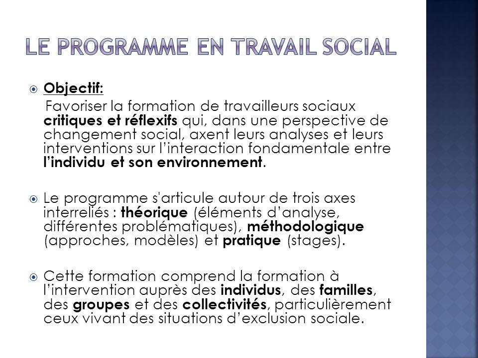 Objectif: Favoriser la formation de travailleurs sociaux critiques et réflexifs qui, dans une perspective de changement social, axent leurs analyses e