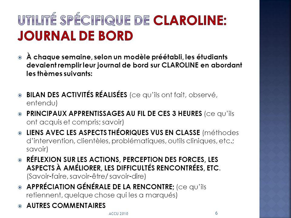 À chaque semaine, selon un modèle préétabli, les étudiants devaient remplir leur journal de bord sur CLAROLINE en abordant les thèmes suivants: BILAN